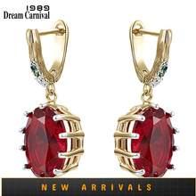 DreamCarnival1989-pendientes con gran estilo rojo para mujer, con circonita deslumbrante, chapado en oro blanco, joyería gótica para boda WE4034RD