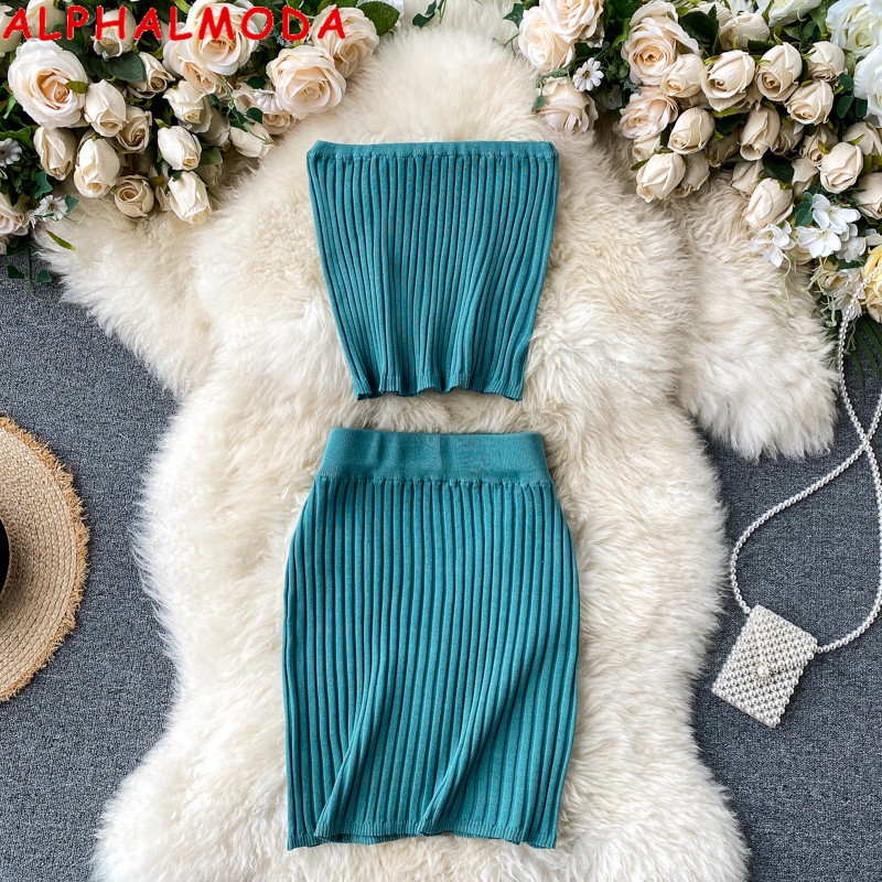 ALPHALMODA Knit Crop Top + Mini Skirt Suit Women's Retro Chic Summer Tube Top Sexy Short Skirt Knitted Two-Piece Set