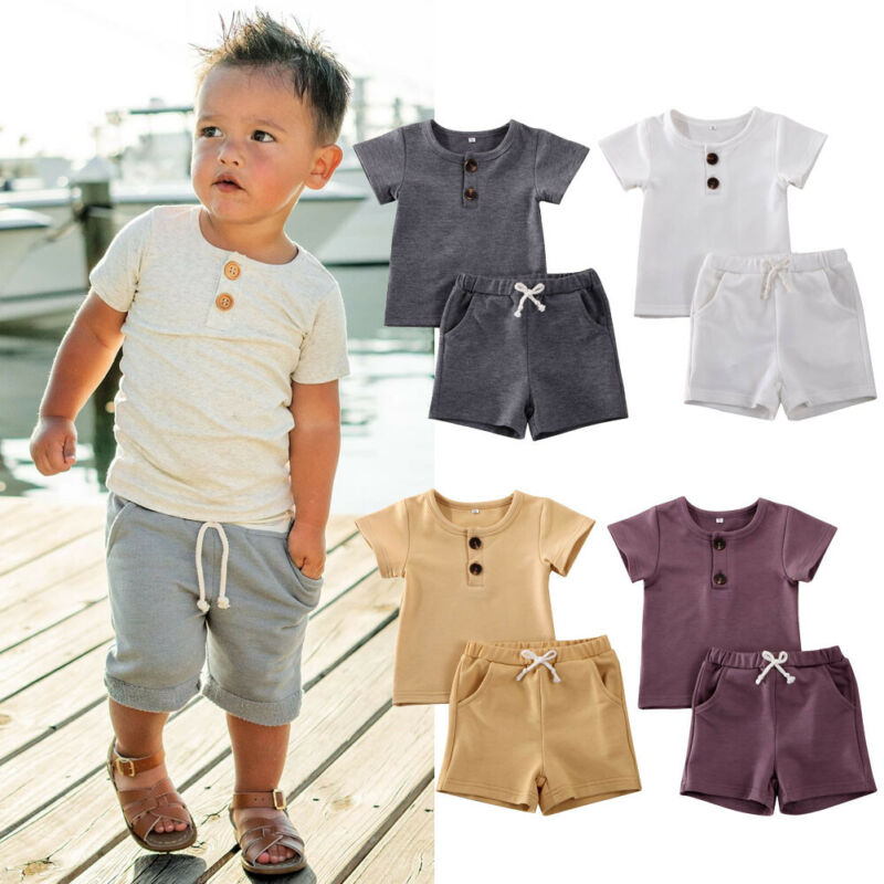 2Pcs Infant Baby Boys Clothes Set Short Sleeve T-Shirt Drawstring Shorts Pants Summer Sport Outfits 0-2 Years