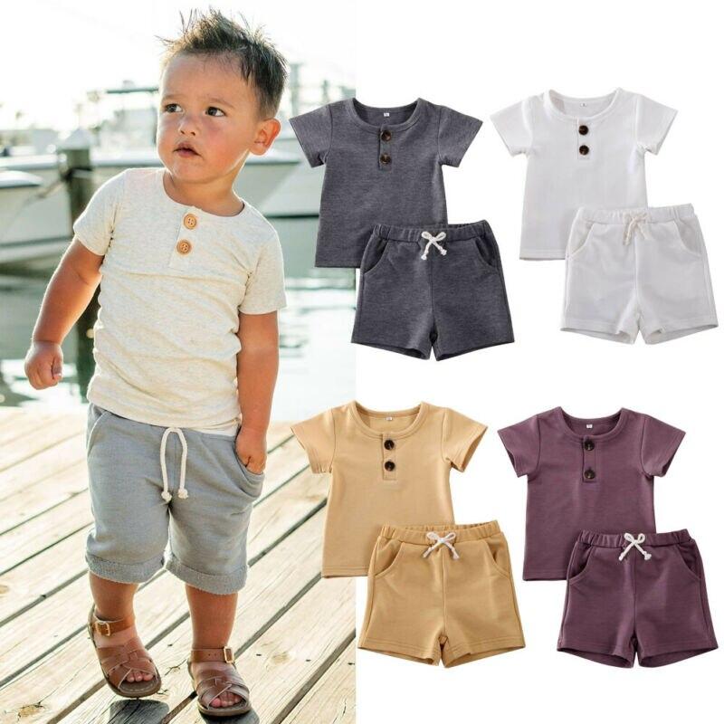 2Pcs Infant Baby Boys Clothes Set Short Sleeve T-Shirt Drawstring Shorts Pants Summer Sport Outfits 0-2 Years