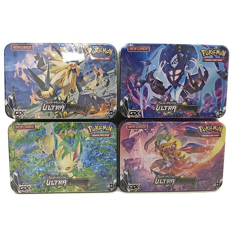 42Pcs/set Pokemon Cards with SUN & MOON Metal Iron Box TAKARA TOMY Toys Game Cartoon Lunala Solgaleo Pattern Figures Kids Gifts(China)