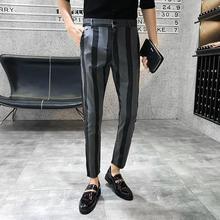 Светильник, летние облегающие брюки, брюки, длина по щиколотку, в полоску, мужское платье, обтягивающие брюки, уличная одежда, офисные брюки для мужчин