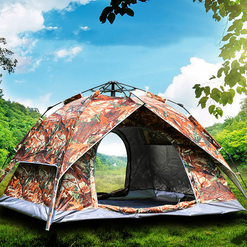 Automatic 4 Person Pop Up Camouflage Tent Ultralight Large Waterproof Windproof Maple Leaf Big Tourist Tents