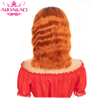 Ombre T1B/Orange Lace Front Human Hair Wigs Loose Deep 13x4 Lace Front Wigs For Women Remy Brazilian Wig 130% Density 10 Inch