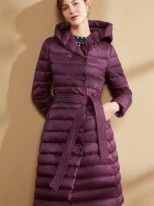 Image 4 - Fitaylor New Winter Women Ultra Light Duck Down Long Coat Single Breasted Plus Size Warm Snow Outwear Slim Hooded Parkas