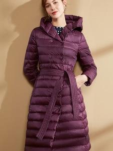 Image 4 - Fitaylor abrigo largo ultraligero de invierno para mujer, Abrigo largo con plumón de pato y una botonadura de talla grande, prendas de vestir cálidas para nieve, Parkas entalladas con capucha