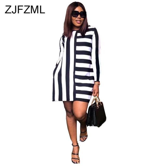 Black White Stripes Plus Size T Shirt Dress Women Round Neck Long Sleeve Mini Causal Dress Autumn 2019 Loose Short Dress Vestido