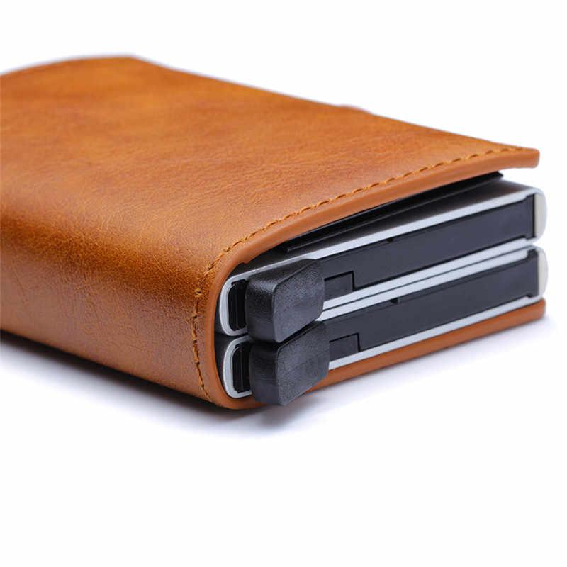 Bisi Goro 2020 Anti-Diefstal Mannen Portemonnee Visitekaartje Portemonnee Unisex Metalen Aluminium Dubbele Box Blokkeren Rfid Portemonnee Reizen portemonnee
