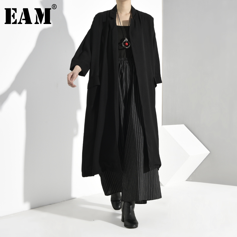 [EAM] Women Black Long Big Size Trench New V-collar Long Sleeve Loose Fit Windbreaker Fashion Tide Autumn Winter 2020 U3700