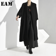 [EAM] Women Black Long Big Size Trench New V-collar Long Sleeve Loose Fit Windbr