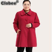 New Women Coats 2020 Oversized Long Sleeve Winter Coats Turn-down Retro Cashmere Femme Tunic Coat For Ladies Plus Size M179(China)