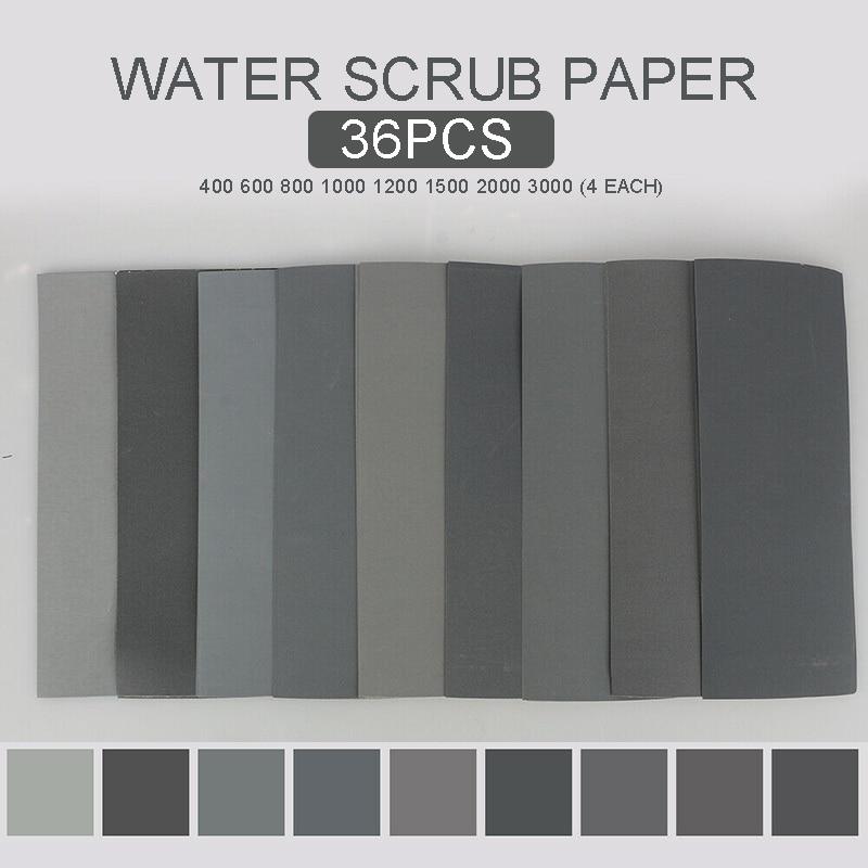 36Pcs Sandpaper Grade Wet And Dry Paper 400/600/800/1000/1200/1500/2000/3000 Grit For Sanding Car Hull Sandpaper Disk Sand Sheet