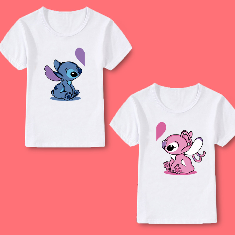 Boys T-shirt Girls Tops Children Clothing Stitch Print Summer Casual Cute Love O-neck Baby Girls T-shirt Boys Tops Kids Clothes