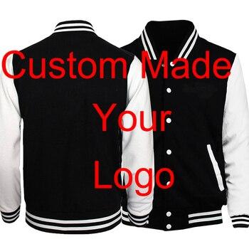 Custom Made Customize Your Logo Jacket Baseball Uniform Black White Jackets Sportswear Streetwear Coat Men