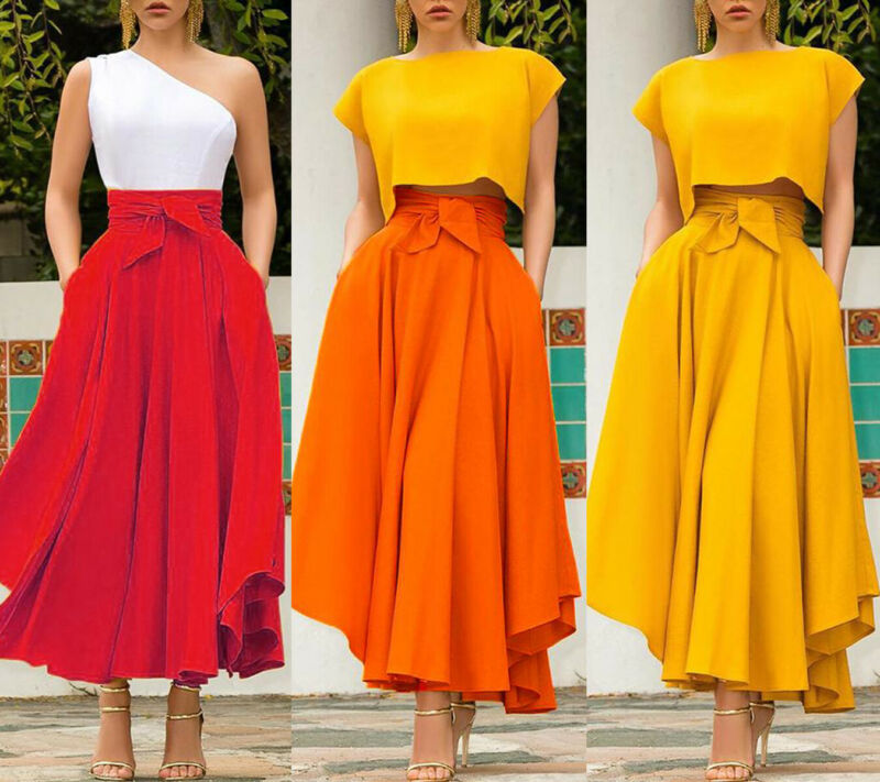 Womens Pleated Long Maxi Skirts Cocktail Party High Waist  A Line Solid Bowknot Elastic Gypsy Costume Flared Swing Plain Skirt