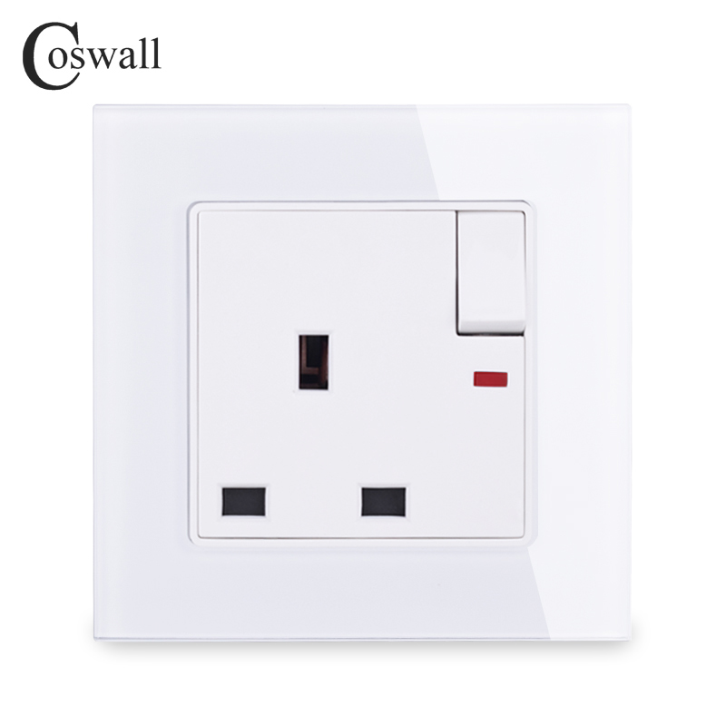 COSWALL Crystal Glass Panel 13A UK Standard Switched Socket With Neon Wall Outlet Grounded With Children Protective Door