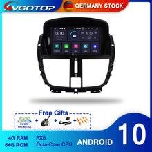 Avgotop android 10 rádio do carro para peugeot 207 207cc 2007-201 gps wifi veículo multimídia sistema