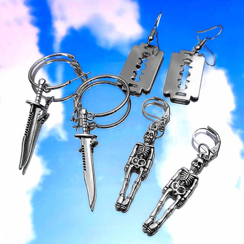 เพียง 3 คู่/เซ็ต Sliver สี Skeleton ใบมีด Drop ต่างหูสำหรับผู้หญิงความคิดสร้างสรรค์ที่ไม่ซ้ำกัน Dangle ต่างหูชุดเครื่องประดับพังค์