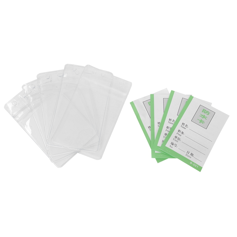 5 Waterproof Clear Plastic Badge Working Exhibition ID Name Card Holders