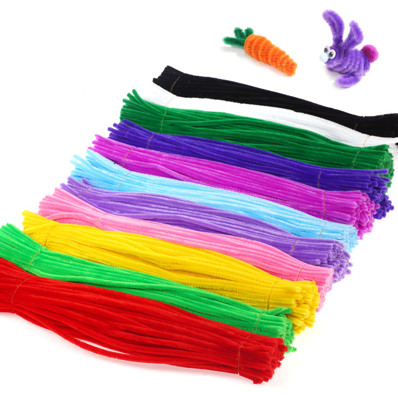 100pcs Arts CraftsToys For Children Montessori Materials Chenille Puzzles Educational Toys Crafts For Kids Pipe Cleaner DIY Toy