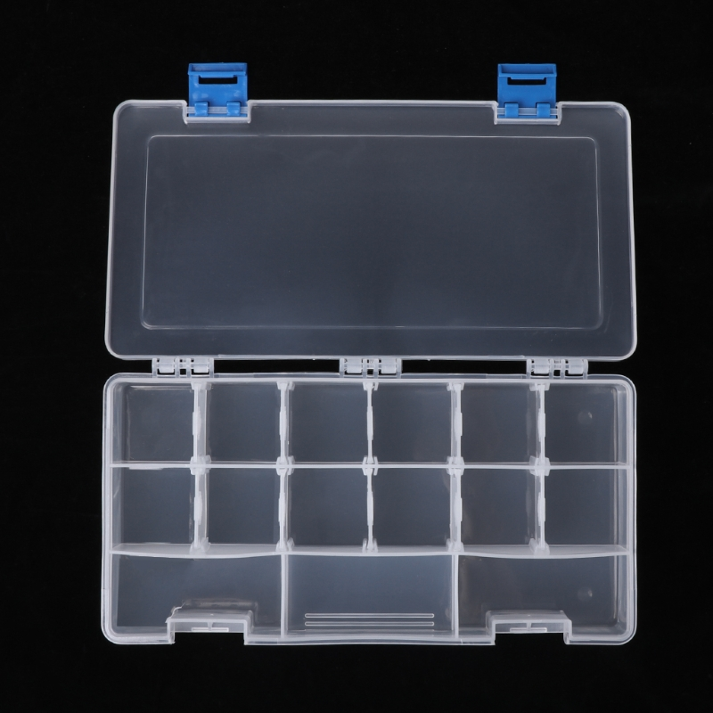 Portable 15 Components Storage Box Hardware Tool Parts Case Transparent Plastic