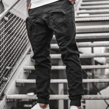 Male Trousers Cargo-Pants Harem Joggers Hip-Hop Black Men Casual Multi-Pocket