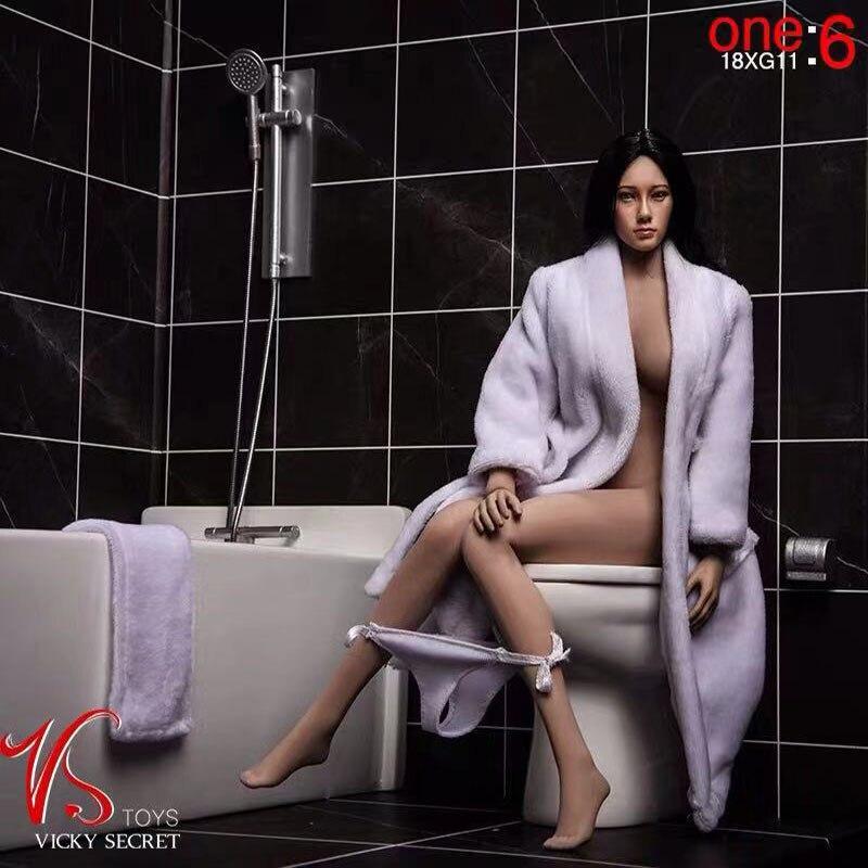 1/6 Scale Female Doll Bathroom Scene Bathtub Toilet Set 18XG12 Bathrobe Three-piece Set Suitable For 12 Inches Action Figure