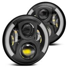 "2pcs 80w 7"" Halo Led Headlight Round 7inch H4 Hi/Low Beam 7inch Led headlights Amber Led car Headlamp for Jeep Wrangler JK, TJ,C"