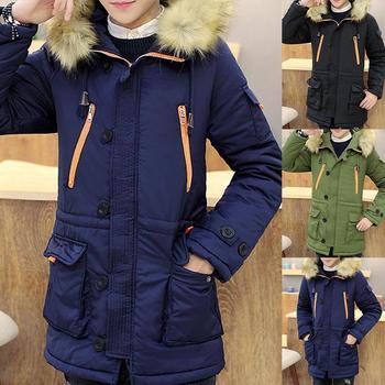 Winter Warm Men Color Bloc-k Pocket Plush Long Sleeve Hooded Midi Coat Quilted Jacket