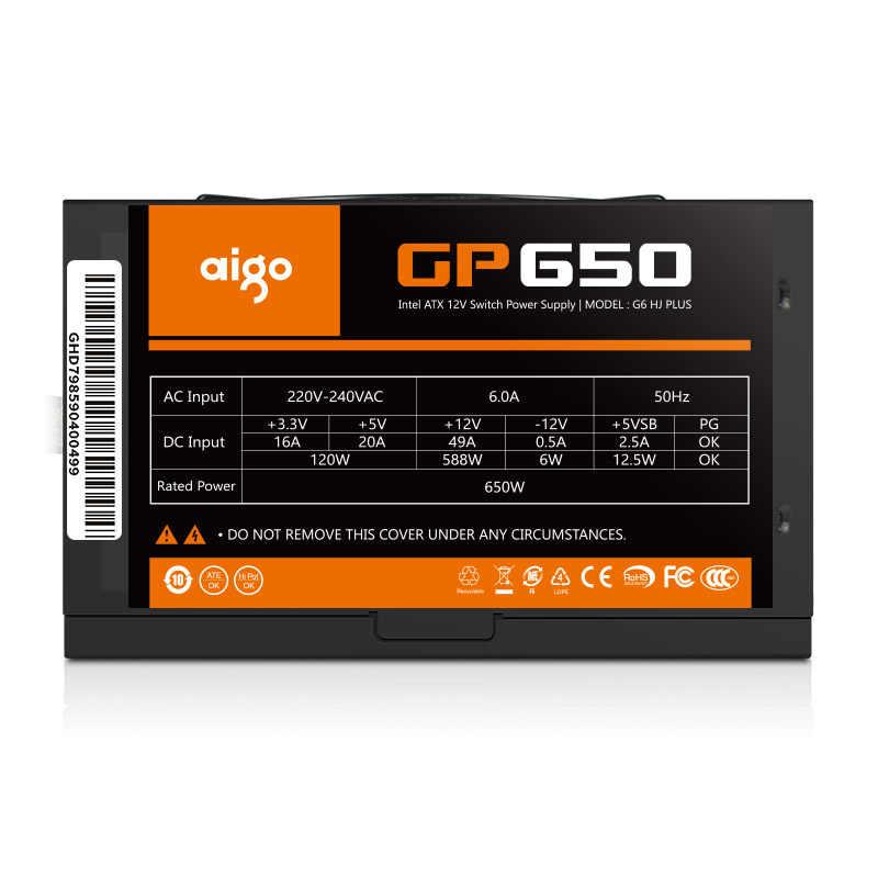 Aigo gp650 max 850W zasilacz do komputera stacjonarnego PSU PFC cichy wentylator ATX 24pin 12V 80PLUS brąz komputer stancjonarny SATA komputer do gier zasilania
