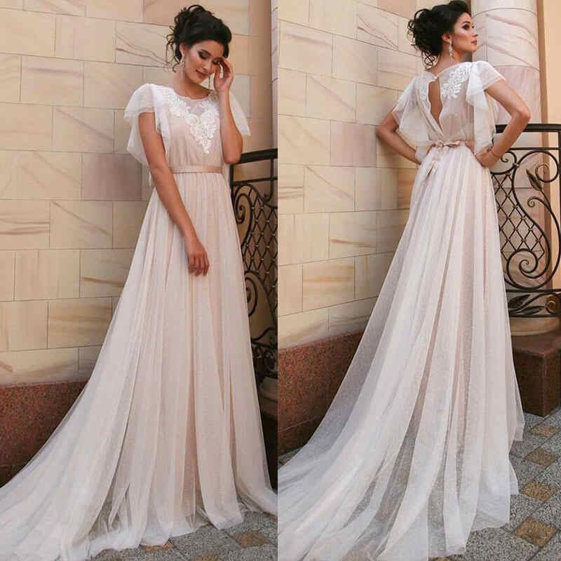 Vestido Novia Boho אלגנטי קצר שרוול בוהמי חתונת שמלה סקסי גב פתוח תחרה אפליקציות טול שמלות כלה