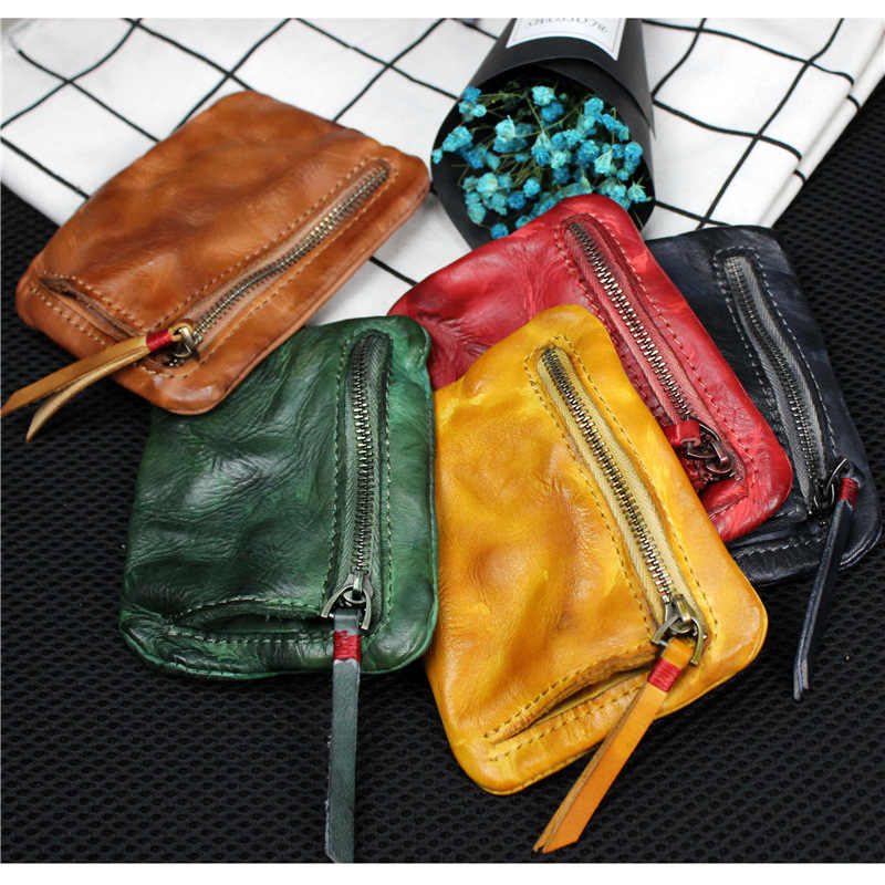 New Genuine Leather Pocket Coin Wallet Hand Purses for Ladies Small Bag Card Holder Pocket Leather Pouch Square Storage Wallet