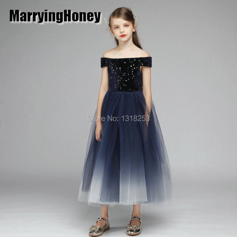 Real photo ball gown   Flower     Girl     dresses   Little   Girl   Princess Formal Sleeveless Tulle Party Gown Kids Birthday Prom   Dresses