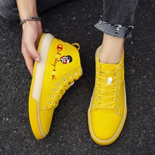 Trend Young Casual Shoes For Boy High Top Lace-Up Canvas Yellow Black Men Sneakers Rubber Sole Flats