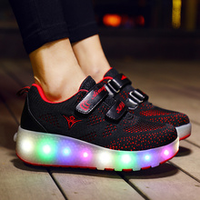 Two Wheels Luminous Sneakers RED Led Light Roller Skate Shoes for Children Kids Led Shoes Boys Girls Shoes Light Up unclejerry size 27 43 kids led shoes light up sneakers for boys girls luminous shoes for big kids and youth sport sneakers