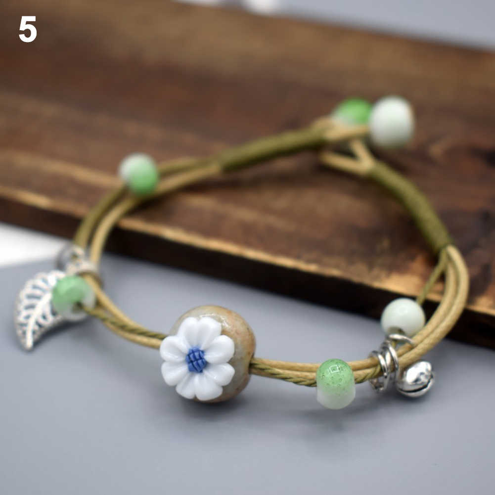 Women Vintage paired Ceramic Stone Flower Wristband friendship Bracelet Couple Bangle DIY Jewelry Gift Woman's accesories