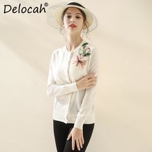 Delocah Fashion Runway Autumn Knitting Wool Shirt Womens Long Sleeve Appliques Sequined Elegant Casual White Cardigans Blouse