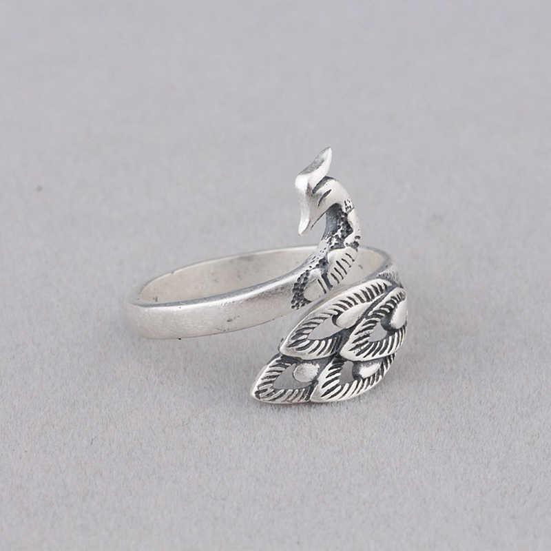 925 เงินแหวนเงินไทยแหวน Vintage นกยูง Lady แหวนเงินสเตอร์ลิงเครื่องประดับ
