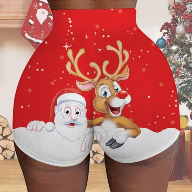 2021 Christmas Women Shorts Fun Print High Waisted Santa Anowman Shorts Summer Sexy Printed Letter Sports Daily Shorts Bottom
