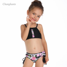 Коллекция года, новая модель, комплект бикини для девочек, черный цветочный купальник из двух частей, бикини для девочек, одежда для купания Детские костюмы для плавания, летняя одежда