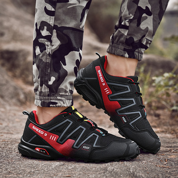 Men Sneakers Outdoor Hiking Shoes Men Trekking Shoes Waterproof Lace-up Mountaineering Sports Shoes Travel Walking Sneaker Boots