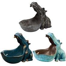 LLavero de hipopótamo de boca grande para el hogar, figurita de resina de hipopótamo, soporte de joyería, ornamento elegante, inofensivo e inodoro, decoración de casa perfecta