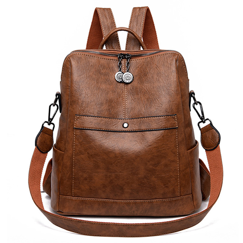 NEW-New Soft PU Wild Fashion Lightweight Simple Ladies Large Capacity Backpack
