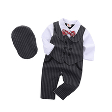 Baby Clothing Romper Boys 24M Bow Black Cotton Formal Berets Long-Sleeve 18M