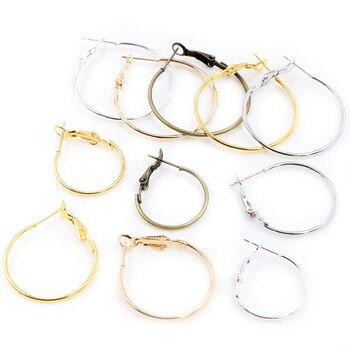 20pcs/Lot 20mm 25mm 30mm 5colors Plated Circle Round Hoop Big Earrings DIY Women Jewelry Making