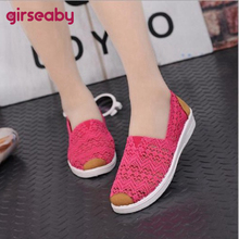 Flat-Shoes Round-Toe Blue Slip-On Breathable Women Casual Summer Fishermen 41 Lace Girseaby