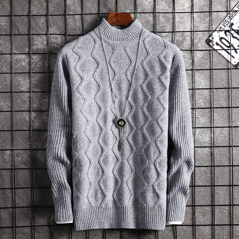 Mens Sweaters Long Sleeve Casual Men Sweater Wine Red Grey Youth O-Neck Pullovers New Fashion