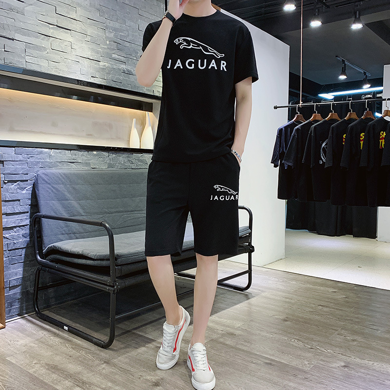 2019 Summer New Style Short Set MEN'S Short-sleeved T-shirt Leisure Suit Short Sports Clothing Two-Piece Set Home Fashion