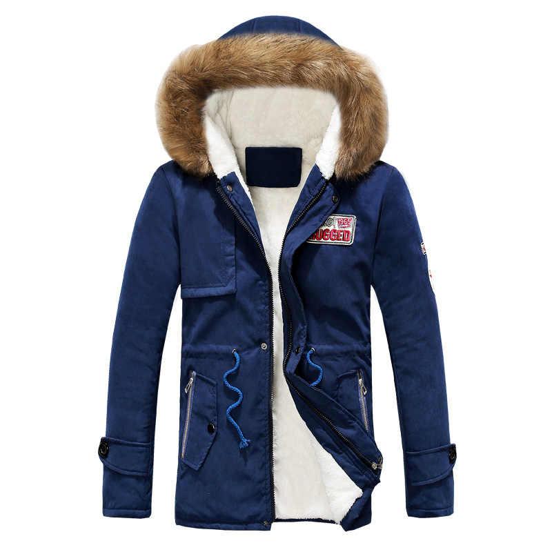 暖かい冬男性パーカー厚みの毛皮フード付きロングジャケット防風フィットネスコート男性ダウンジャケットカジュアルなアウターウェア 2019 男性服