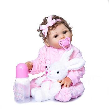 LeadingStar 45cm Simulation Girl Silicone Doll Toy Moveable Arm Birthday Christmas Gift for Kids Children